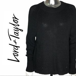 NWT Lord & Taylor High Low Long Sleeve Crew Neck
